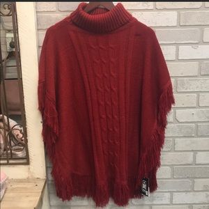 NWT Red Poncho with Fringe